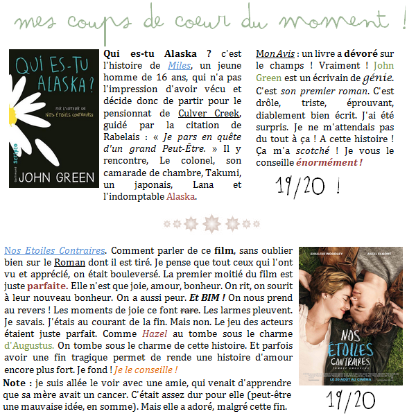 25 Octobre 2014;# Mes coup de Coeur