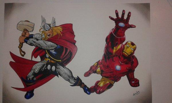 thor et iron man, modeles comics pris sur internet.