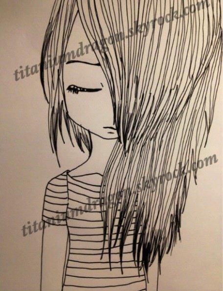 Fille triste fait directe au stylo mizuki takahashi - Fille facile a dessiner ...