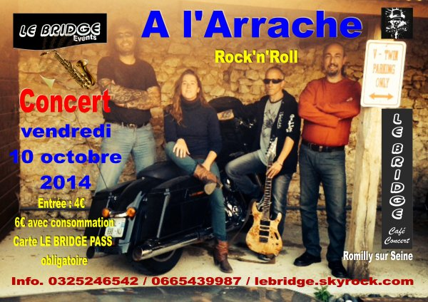 A L'ARRACHE en concert, du Rock'n'Roll pour la rentrée musicale de Le Bridge Café-Concert