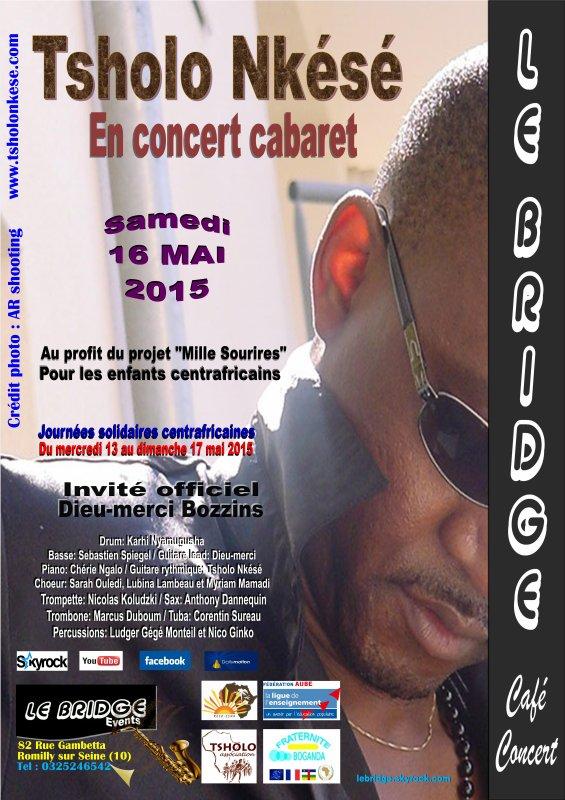 Tsholo Nkésé en concert pour les journées solidaires centrafricaines au Bridge Café-concert / du mardi 13 au dimanche 17 mai 2015