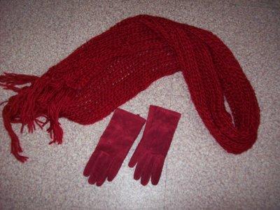 Echarpe + gant en cuir