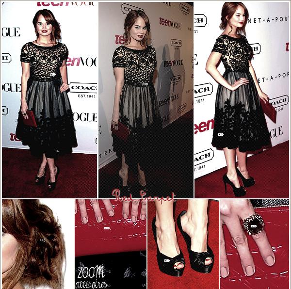 . 23 septembre : Debby R. s'est rendu à la soirée des Teen Vogue Y. dans une robe Collette Dinnigan. Note: Top/Flop, dites moi tout ce que vous pensez sur la robe de Debby. La met elle en valeur ? ou pas ? .