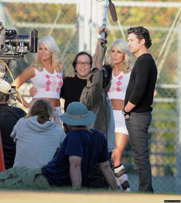Patrick Dempsey à Westwood sur le tournage d'une pub L'Oréal le 12 février