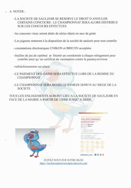 CONCOURS INVITES SAULZOIR 2019, 0.60¤le pigeon,3¤ la série objet.