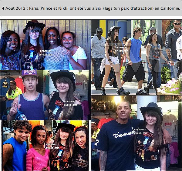 . 27 Aout 2012 | Les enfants ( Prince, Paris et Blanket) ont encore été vus au parc d'attraction, Six Flags. .