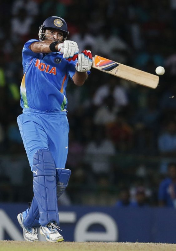 India's batsman Yuvraj Singh bats during the ICC Twenty20 Cricket World Cup Super Eight match between India and Pakistan in Colombo.