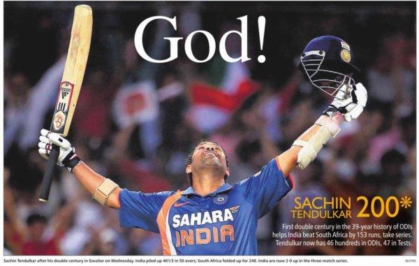 i love my india,Sachin's ODI Records Highest Individual Score: 200*
