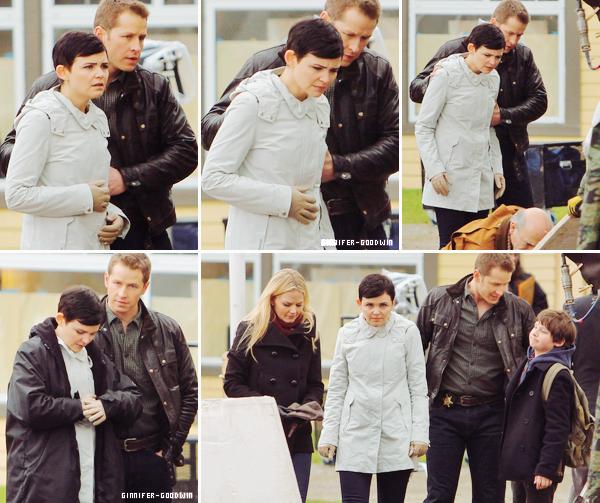 """I Le 13/02/13 : Ginnifer, Jennifer Morrison & Josh Dallas étaientt  set de leur série """"Once Upon a Time"""" à Vancouver. I"""