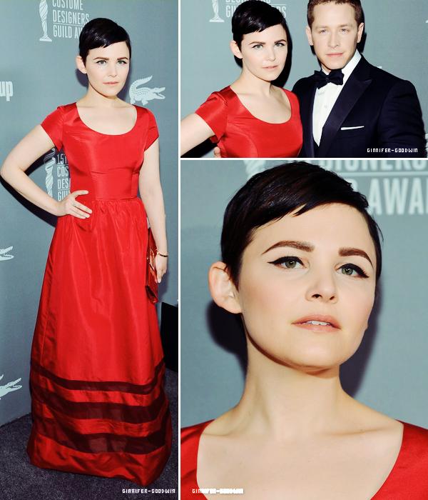 I Le 19/02/13 :  Ginnifer & Josh ont participés au 2013 Costume Designers Guild Awards au The Beverly Hilton Hotel.  I   J'aime bien la robe de Ginni mais elle n'avait aucun accessoire pour la mettre en valeur. Dommage.