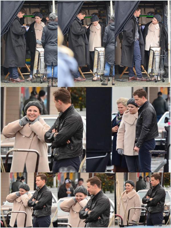 Tournage   Once Upon A Time - 07/11/13 I Ginnifer et Josh étaient sur le tournage du 11ème épisode de la saison 3 de Ouat, j'adore le manteau de Snow/Ginny !