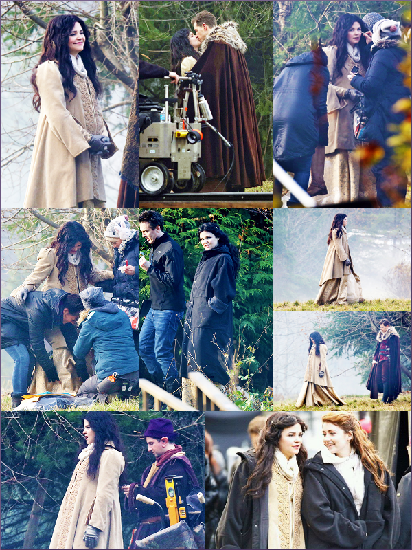 De nouvelles photos du tournage de la saison 3 ont fait leur apparition sur le net ! I   Ginnifer était accompagné de Josh, Emilie (Belle), Sarah (Aurore), Julian (Prince Philip), Lana, Michael ... Pourquoi tout ce petit monde était présent ? Telle est la question ^^
