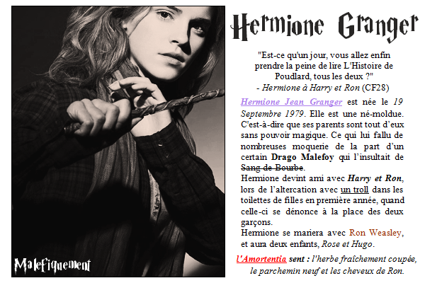 Texte sur Hermione Granger.