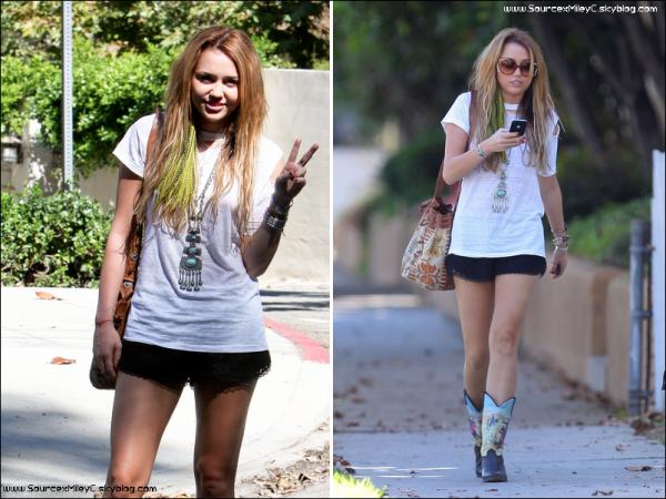 Miley allant chez une amie dans le quartier de Toluca Lake hier
