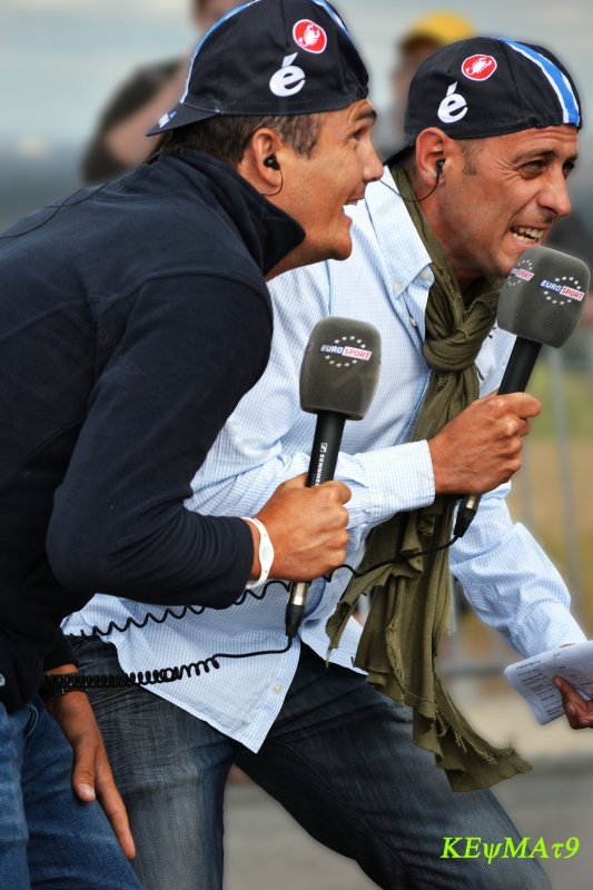 Richard Virenque et  Guillaume Di Grazia  lors d'un tournage Eurosport