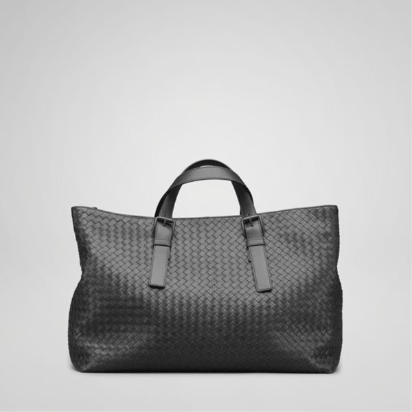 BOTTEGA VENETA NERO INTRECCIATO LIGHT CALF BRIEFCASE