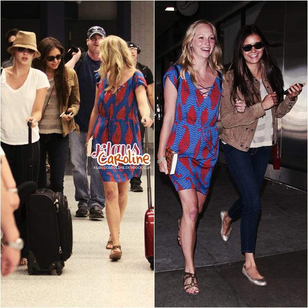 6/07/2012:Candice à l'aéroport de Los Angeles avec Nina Dobrev et Claire Holt!