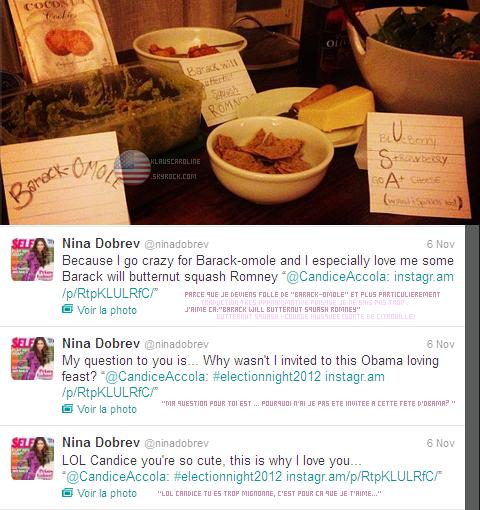7/11/2012:  Fête de Candice avec des amis et  Nina en l'honneur de l'élection du nouveau président des Etats-Unis.  !