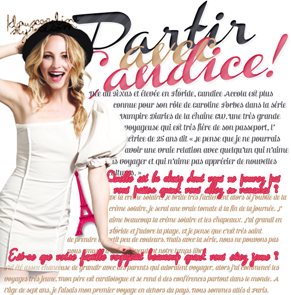 8/01/2013: Interview de Candice Accola pour Chicago Tribune!         Traduction de CandiceAccolaSource  .