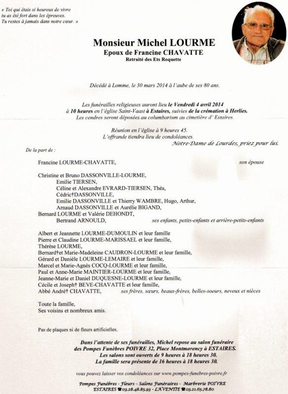 DÉCÈS DE MICHEL      LE PAPA DE BERNARD LOURME        notre comptable au CCH