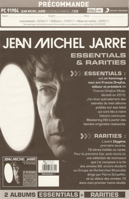 Jean Michel Jarre Essentials & Rarities Plan promo