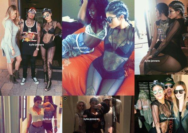 le 18 avril 2015 - Kylie et Tyga en arrivant à Coachella Parti Khloe à Palm Springs, en Californie.