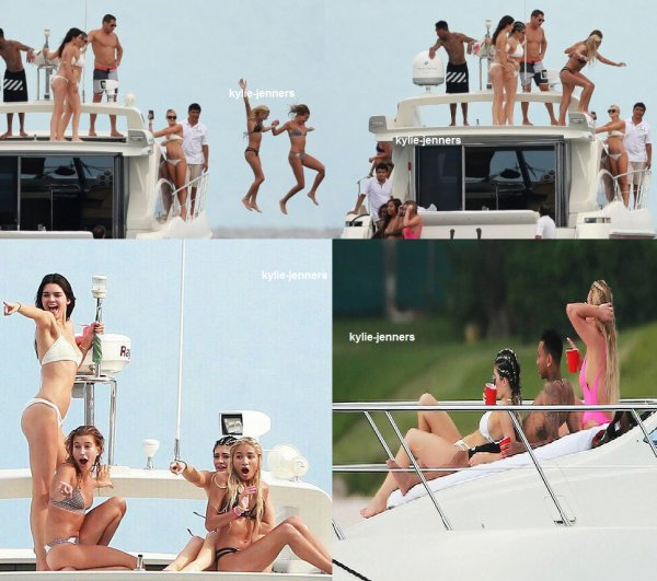 le 12 aout 2015 - kylie kendall Hailey et Pia Mia tyga sur un bateau au Mexique.