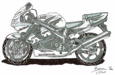 dessin d 39 une moto honda 600 5 5 5 5 5. Black Bedroom Furniture Sets. Home Design Ideas