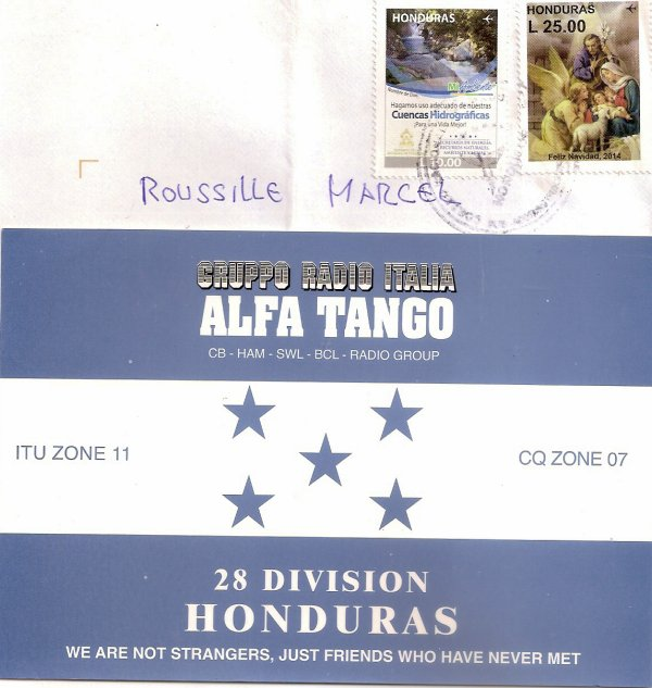QSL RX DE LA 28 AT 102  OP RICHARDO / HONDURAS