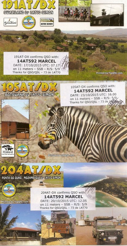 QSL RX DE LA 191 AT /DX // 105 AT / DX   // 204 AT / DX