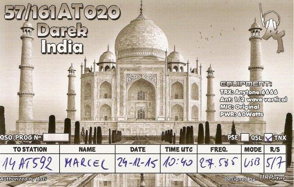 QSL RX DE LA    // 57/ 161 A T 020 // OP DAREK / INDIA