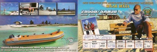QSL DE LA 285 SD /SA 038 /ISLAND ROCAS DAS ATOL