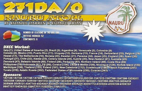 QSL RX DE LA  271 DA / 0  ISL NAURU ATOLL