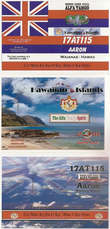 QSL RX DE 17 AT 115 SUR ILE DE HAWAII