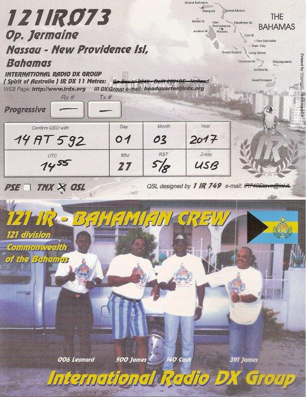 QSL RX DE LA 121 IR 073 OP JERMAINE /LES BAHAMAS /