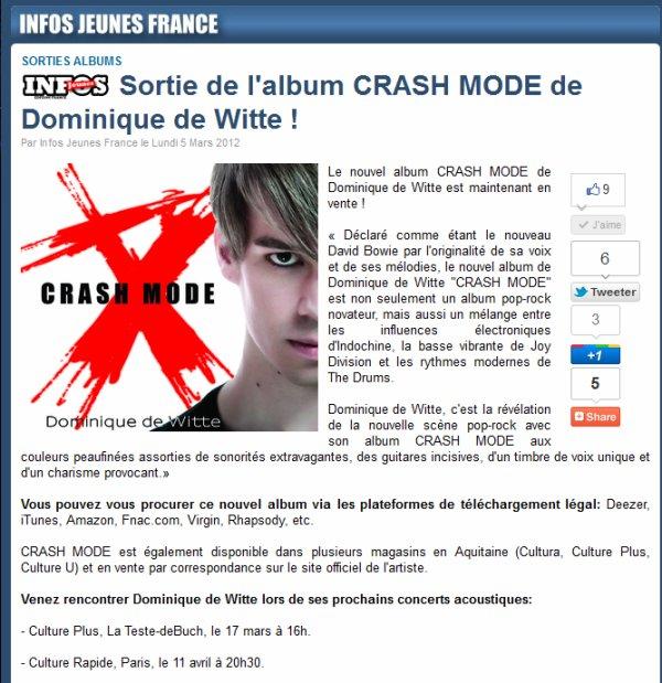 INFOS JEUNES FRANCE - Article de Presse, 5 mars 2012