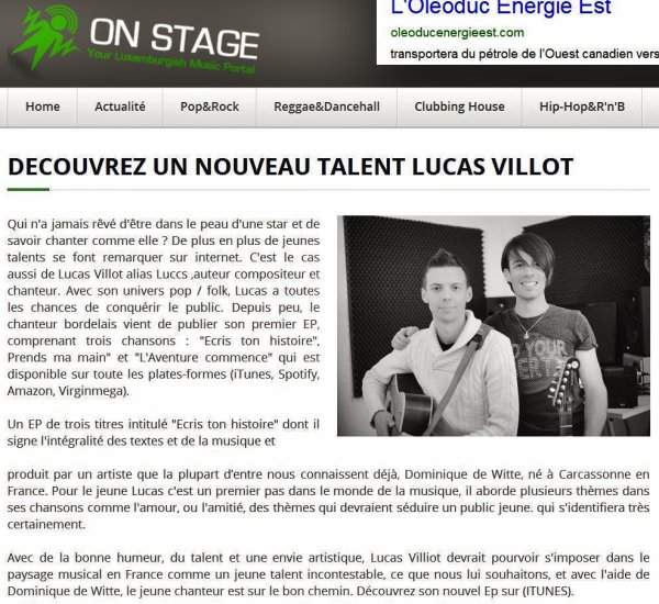 Article dans ON STAGE MAGAZINE (Luxembourg) - MUSIC PRODUCER pour LUCSS : 'Ecris ton histoire' EP