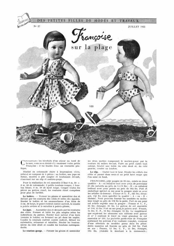 Françoise ,tenue M&T de juillet 1955