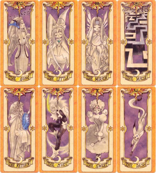 Sakura, Les Cartes de Clow : 52 Cartes Le vent, Le vol, L'ombre, L'eau, L'arbre, La pluie, Le saut, L'illusion Le Silence, Le Tonnerre, L'épée, La fleur, Le bouclier, Le temps, La puissance, Le brouillard La tempête, L'ascension, L'effacement, La lueur, Le mouvement, Le combat, La boucle, Le sommeil Le chant, La petite carte, Le miroir, Le labyrinthe, Le passé, La chasse, Le sucre, La vitesse La croissance, La création, Le changement, Le gel, Le feu, La flèche, Les bulles, La vague La balance, Le passe muraille, La neige, La voix , La serrure, Le nuage, Le rêve, Le sable Les ténêbres, La lumière, Les jumeaux, La terre