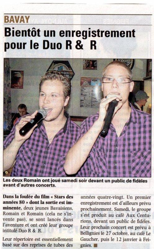 Le Duo R&R et passée dans la voix de nord