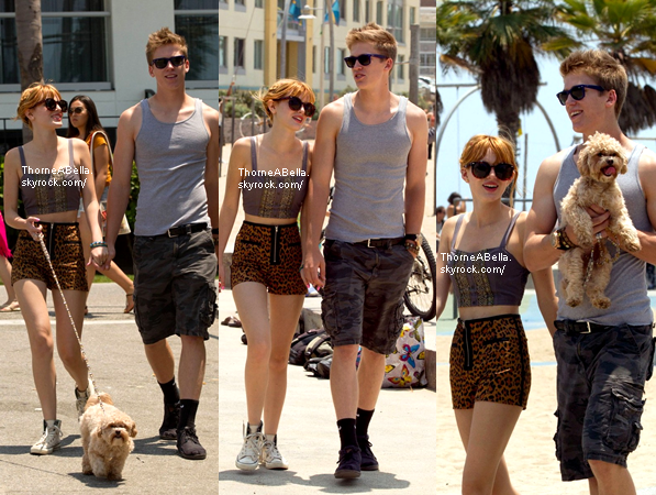 Bella , Tristan et Kingston à la plage de Santa Monica le 30 juin 2013 .