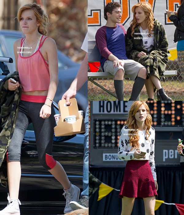 "Bella sur le tournage de son new film ""Mostly Ghostly II"" le 22 mars."