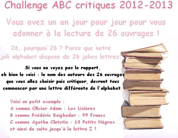 Challenge ABC critiques 2012-2013 ( TERMINÉ )