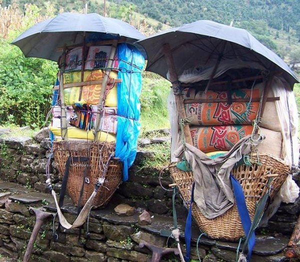 Bags carry by porter of Himalayas