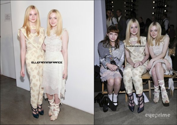 13 septembre : Elle était avec sa soeur Dakota au défilé printemps 2012 de Rodarte au Lincoln Center de New York City !