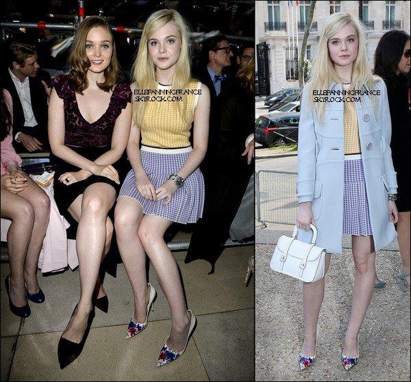"""05 Mars : Elle est à Paris pour la Fashion Week et a assisté au défilé """"Automne-Hiver 2014/2015"""" de la marque Miu-Miu !"""