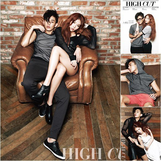 "Yoo Ah In et Hyuna (4Minute) ensemble en couverture du magazine ""High Cut"""