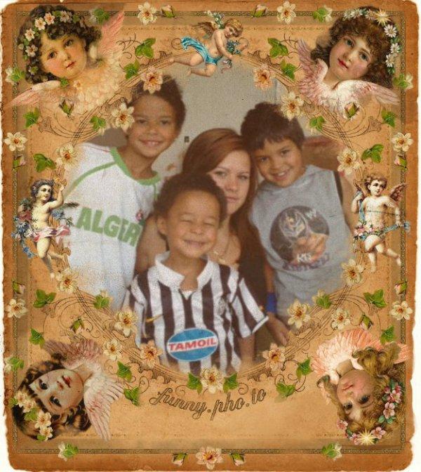 Ma fille Elodie et ses 3 petits frères ....