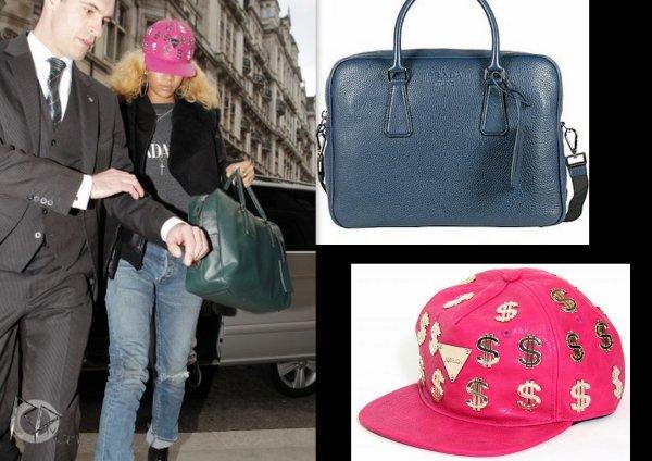 rihanna arrive a son hotel a londres / elle porte un sac prada et une casquette Joyrich