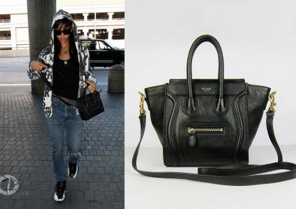 Riharrive a quitte L.A / elle porte un sac celine / tu aimes?